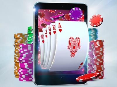 illustration of five suit cards popping out of a tablet with piles of poker chips around