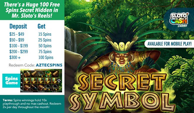 Sloto'Cash Secret Symbol Free Spins Bonus