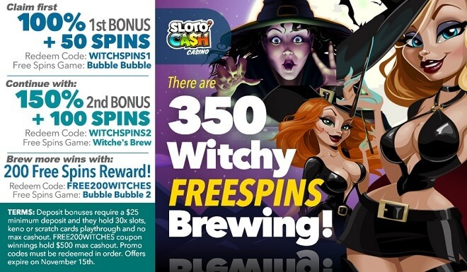 350 Sloto Witches Free Spins Pack!