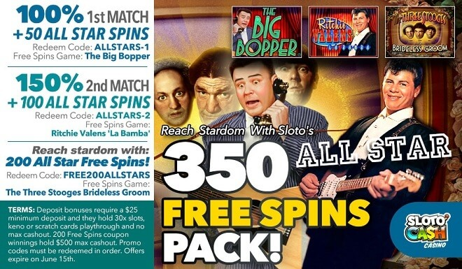 Sloto'Cash 350 Free Spins Pack