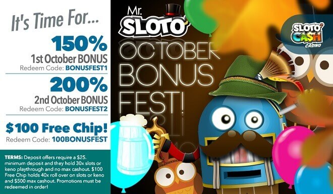 It's Time For Mr. Sloto's October Bonus Fest!