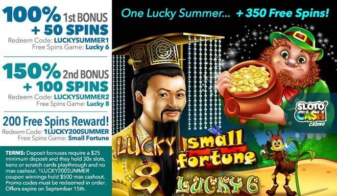 Sloto'Cash 350 Free Spins Bonus