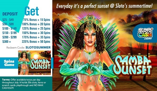 225% Match + 50 Free Samba Sunset Spins!