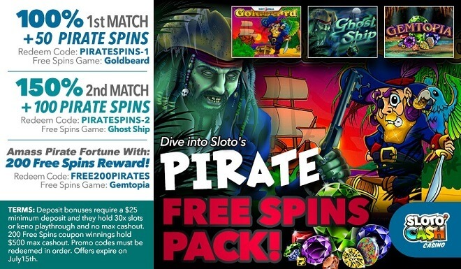 350 Pirate Free Spins Pack!