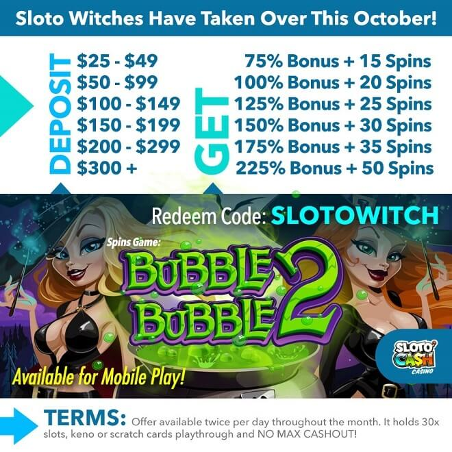 Sloto'Cash Bubble Bubble Free Spins Bonus