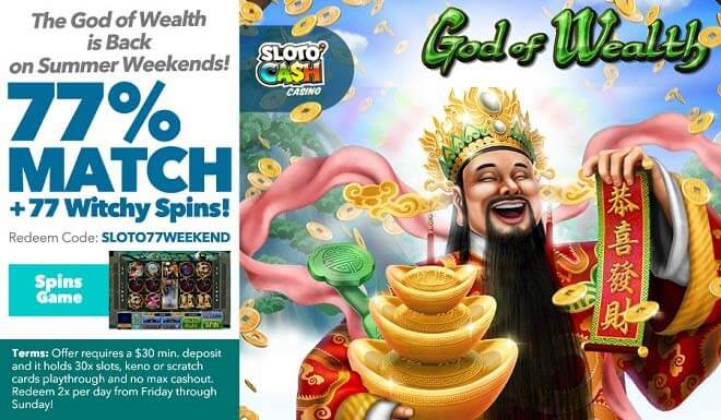 Sloto'Cash Weekend Free Spins Bonus