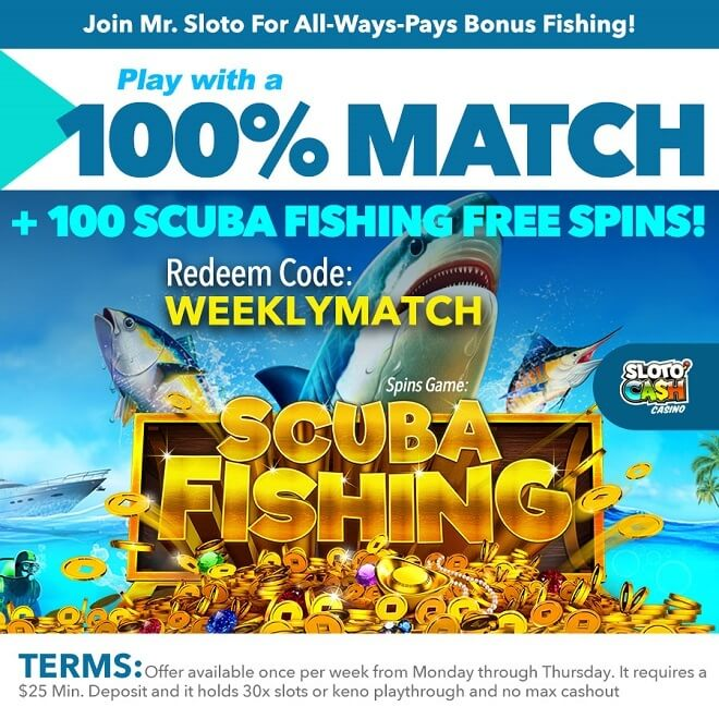 Join Mr. Sloto For All-Ways-Pays Bonus Fishing!