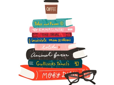 illustration of a stack of books with glasses and a cup of coffee